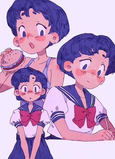 ami mizuno/sailor mercury art by emma lupine Sailor Moons, Sailor Moon Fan Art, Cute Art Styles, Cartoon Art Styles, Sailor Moon Aesthetic, Cartoon Kunst, Dibujos Cute, Sailor Scouts, Character Design Inspiration