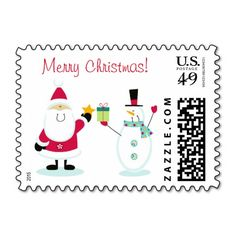 Merry Christmas Santa Claus and Snowman Postage Stamps