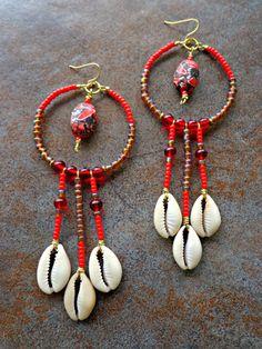 Red Cowrie Shell Chandelier Earrings by KheperaAdornments