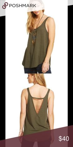 Cut Out Shirttail Tank Super soft tee with scoop neck front and cut out v-neck back. By Chaser.  Color: Canteen  Fabric: linen jersey Original Retail $59.00 Style Number: CW6871_S Chaser Tops Tank Tops