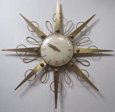 Phinney Walker vintage wall clock. Starburst with swirling circles! Novelty Clocks, Tick Tock Clock, Classic Clocks, Hanging Clock, Cool Clocks, Modern Clock, Clock Decor, Antique Clocks, Mid Century Art