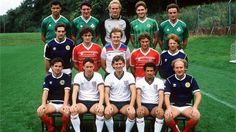 Summer 1985. Manchester United's international players posing in their national team kits. Top: Paul McGrath, Frank Stapleton, Gary Bailey, Norman Whiteside, Kevin Moran Middle: Graeme Hogg, Mark Hughes, Peter Barnes, Clayton Blackmore, Gordon Strachan Front: Arthur Albiston, Mike Duxberry, Bryan Robson, Remi Moses, Alan Brazil
