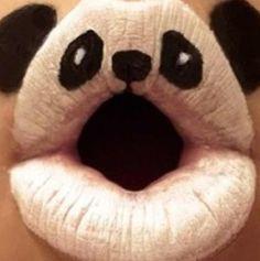 PANDA lips, white lip stick & black eye liner
