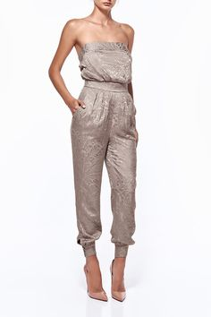 35ec36aba024 Misha Collection Isabella Burnout Tapered Pantsuit find it and other  fashion trends. Online shopping for Misha Collection clothing. Featuring a  strapless.
