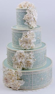 Soma Sengupta Indian Wedding Cake- Delicate, Elegant Wedgwood Blue!