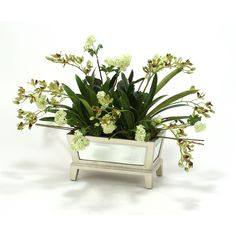 Distinctive Designs 8076 Silk Green-Burgundy Orchids with Snowballs and Reeds in a Mirrored Box