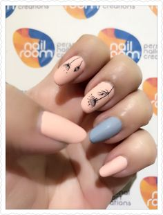 Matte light peach nails with grey accent and floral dandelion stamping nailart. Products used - OPI Infinite Shine 'Reach for the sky', 'Don't ever stop!'. OPI matte topcoat. Stamping plate ' HK-02' www.nailroom.my
