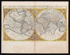 Orbis terrae. Mercator 1587 Orbis terrae compendiosa descriptio. Weltkarte in 2 Hemisphären mit or — Weltkarten Außereuropa