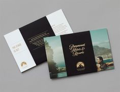 Paramount Hotels Resorts / Contributed by Aimee Emerson of London-based SMITH / branding / logo / identity / packaging / business card / stationery / brochures / luxury branding at it's finest / crisp and bold / gorgeous design Hotel Brochure, Luxury Brochure, Hotel Branding, Brochure Layout, Brochure Design, Luxury Branding, Brochure Ideas, Brand Identity Design, Corporate Design