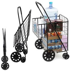 Grocery Cart On Wheels Folding Shopping Cart with Double Basket and Swivel Wheel