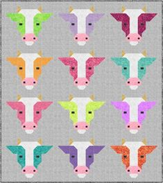 DIY COWS Quilt Kit includes Backing and Pattern, Bedding Crib Blanket Quilting Patchwork Project Baby Quilt Kit Toddler Kit farm animal cow Quilt Block Patterns, Pattern Blocks, Quilt Blocks, Quilting Projects, Quilting Designs, Sewing Projects, Quilting Tips, Modern Quilting, Cute Quilts