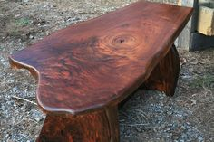 country wood slab coffee table