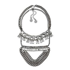 Layering is made easy with this 2-piece gunmetal crystal necklace set. The two pieces can be worn separately or together to amp up the style.