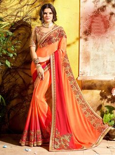 Orange Georgette Festival Wear Saree 102767