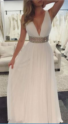 Prom Dresses,A-line V-neck Ivory Chiffon Sexy Long #prom #promdress #dress #eveningdress #evening #fashion #love #shopping #art #dress #women #mermaid #SEXY #SexyGirl #PromDresses