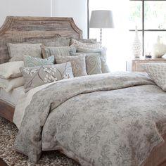 Linen duvet with a lace trim and floral toile motif.   Product: DuvetConstruction Material: 100% Linen