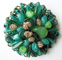 Interesting Shades of Green Art Glass Beads Pin!