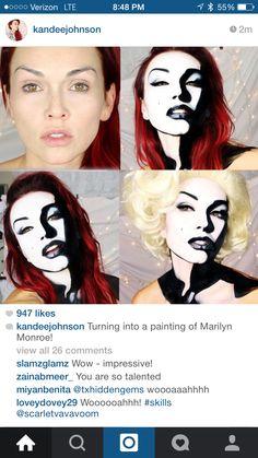 31 Thrilling Transformations Realized with the Power of Makeup - My Modern Met Art Halloween, Halloween Makeup Looks, Pop Art Makeup, Crazy Makeup, Lip Art, Maquillaje Marilyn Monroe, Comic Makeup, Kandee Johnson, Make Up Braut