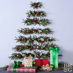 No room for a Christmas tree? You can still deck the halls with this DIY tree made from pine garlands—no floor space required!