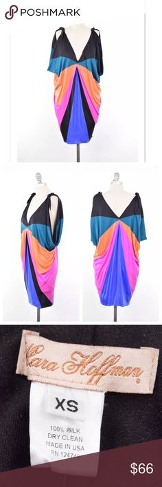 "Mara Hoffman draped silk jersey vibrant dress Super fun summer dress from Mara Hoffman. Bright, rainbow colored panels in a geometric, radiating pattern. Deep V neckline with cut-outs on the shoulders and short sleeves. Draped hips. Stretch silk jersey; unlined. Size XS, but can also fit a S. *faint mark on the left hip - mostly hidden from the drape - see last two pictures.  Length from Shoulder: 35"" Mara Hoffman Dresses Mini"