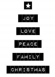 joy love peace family Christmas   kerstkaart zwart wit