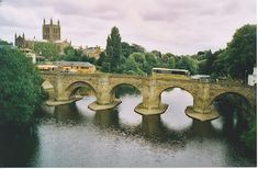 Hereford -- bridge over the Wye with the cathedral in the background