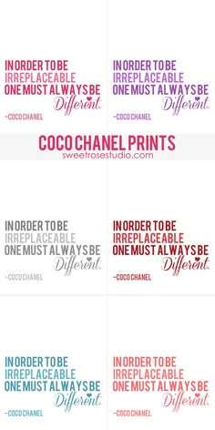 Coco Chanel Free Prints at Sweet Rose Studio