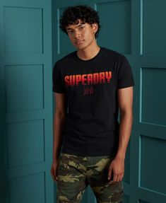 Mens - Limited Edition Embroidery T-Shirt in Optic   Superdry Superdry Mens, Black Models, Herren T Shirt, Signature Logo, Shorts, Polo Shirt, Short Sleeves, Trainers, Sneaker