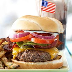 All-American Bacon Cheeseburgers Recipe from Taste of Home (burger flavored with onion, ketchup, garlic, Worcestershire, steak sauce, and a bit of vinegar)