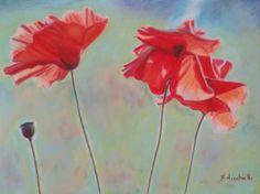 """Original drawing by Francesca Licchelli #art #originalartwork #poppiesdrawing """"Papaveri al vento"""" - disegno originale - pastelli morbidi e matite colorate su carta vellutata - Misure: 32 x 24 cm. - anno: 2015."""