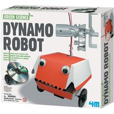 Dynamo hand crank robot kit - with cardboard case that can be customized