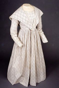 Striped & Abstract Printed Day Dress, 1837-1843
