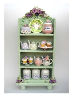 1/12 scale  country chic  floral  cabinet  fairy by 64tnt on Etsy