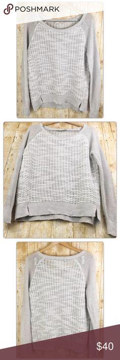 Ann Taylor LOFT Oversize Beige Knit Sweater Size L Brand: Ann Taylor LOFT  Style: Long sleeve, knit, boat neck sweater with a split front hem  Size: Large LOFT Sweaters Crew & Scoop Necks
