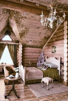 whimsical cottage bedroom with moss painted on walls and ceiling