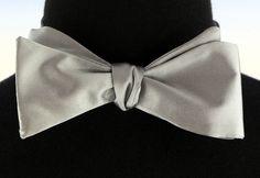 Mens Self Loop Poly Satin Bow Tie Wedding Prom Fashion Medium Grey Bowtie New…