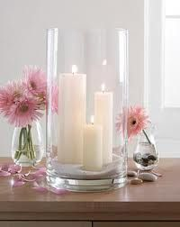 Pretty candle arrangement.  The cylider is available at Michael's, JoAnn Stores, Hobby Lobby etc. We have a huge selection of colors, brights and pastels, in pillars like these, as well as all our other style candles.  Almost all ofour candles are also available in bulk at www.BeverlyHillsCandle.com