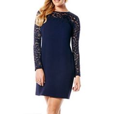 Lace Dress in Inkblot Stunning long sleeved dress in the color inkblot by Laundry. New with tags. Lace detailed sleeves and back zipper with eyehole detail. Offers always welcome! Laundry by Shelli Segal Dresses Long Sleeve