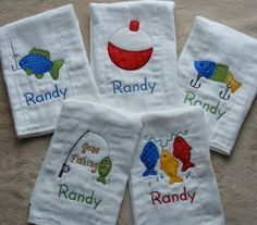 Just what the littlest fisherman needs: five-piece fisherman themed burp cloth set! This set includes a fish on a hook, a string of fish, a fishing