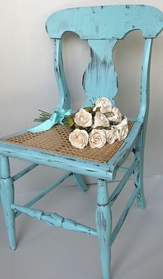 Vintage aqua cane seated chair. Gorgeous. Painted Furniture.