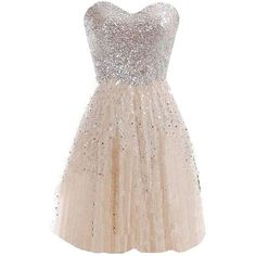 Glamorous Sweetheart Knee-Length Light Champagne Homecoming Dress with... ❤ liked on Polyvore featuring dresses, glamorous cocktail dresses, champagne sequin dress, holiday dresses, homecoming dresses and evening dresses
