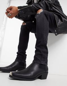 Black Faux Leather, Suede Leather, Leather Boots, Asos Boots, Suede Boots, Men's Boots, Westerns, Asos Men, Military Fashion