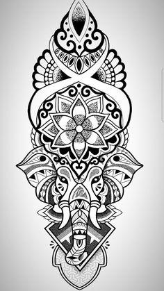 Tattoo mandala elephant ganesh Ideas - Tattoo mandala elephant ganesh I. Mandala Elephant Tattoo, Elephant Tattoos, Ganesha Tattoo Mandala, Elephant Elephant, Elephant Thigh Tattoo, Mandala Flower Tattoos, Elephant Design, Tattoo Drawings, Body Art Tattoos