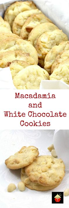 Macadamia and White Chocolate Cookies. Perfect with a cup of tea or glass of milk! - Macadamia and White Chocolate Cookies. Perfect with a cup of tea or glass of milk! A very easy cook - Choco Chip Cookies, White Chocolate Cookies, Choco Chips, White Chocolate Recipes, Oatmeal Cookies, Very Easy Cookie Recipe, Easy Cookie Recipes, Sweet Recipes, Köstliche Desserts