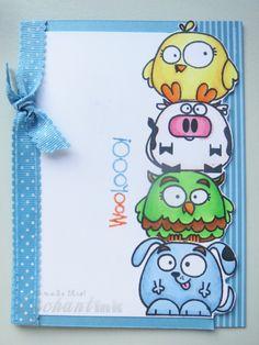Handmade Male Birthday Card ... EnchantINK ... Paper Smooches - Chubby Chums ... CASE: Pink Unicorn (link via blog post)