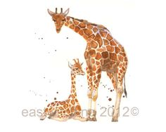 Nursery Giraffe Print,SMALL giraffe print, Mother and baby giraffe, new mom gift,watercolor animals Giraffe Nursery, Giraffe Art, Safari Nursery, Nursery Art, Nursery Ideas, Giraffe Pictures, Watercolor Animals, Watercolor Painting, Watercolors