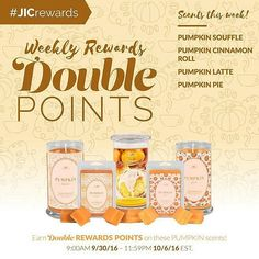 Let's Pumpkin!  Earn double rewards points on any of our pumpkin inspired scents until this Thursday at 8:59PM (pst)! jicbyjulie.com (link in bio)  #jicbyjulie  #pumpkinallthethings #jicnation #pumpkin #pumpkinlatte #pumpkinpie #coffee #pumpkincoffee #fall #fallscents #regrann
