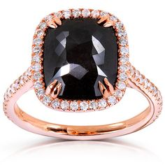 Annello 14k Rose Gold 4 3/8ct TDW Cushion-cut Black and White Diamond Halo Ring (G-H, I1-I2)