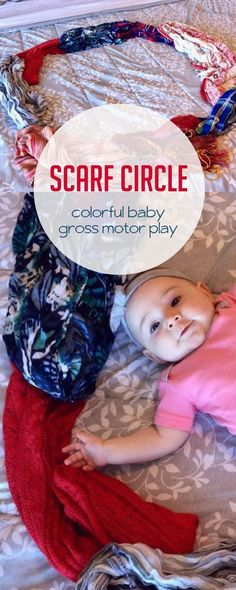 This no-prep colorful scarf circle makes practicing your baby's gross motor skills super simple! baby breastfeeding baby infants baby quotes baby tips baby toddlers Gross Motor Activities, Gross Motor Skills, Sensory Activities, Infant Activities, Preschool Activities, Baby Sensory, All About Me Activities, Outdoor Activities For Kids, Creative Activities