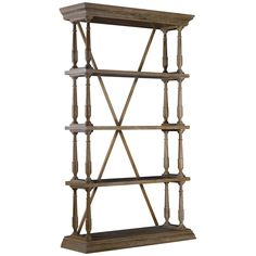 Single Cross Bookshelf In Solid Oak And Natural Iron Supports Are Trimmed With Decorative Castings Beautiful Hand Craved Wood Is Naturally Finishe